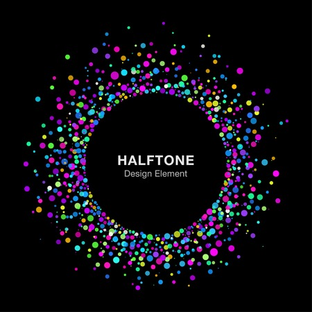 Colorful Bright Abstract Halftone Logo Design Element on Black Background Vettoriali