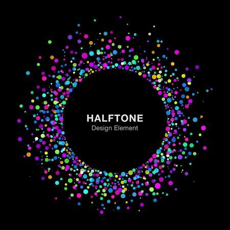 Colorful Bright Abstract Halftone Logo Design Element on Black Background Illustration