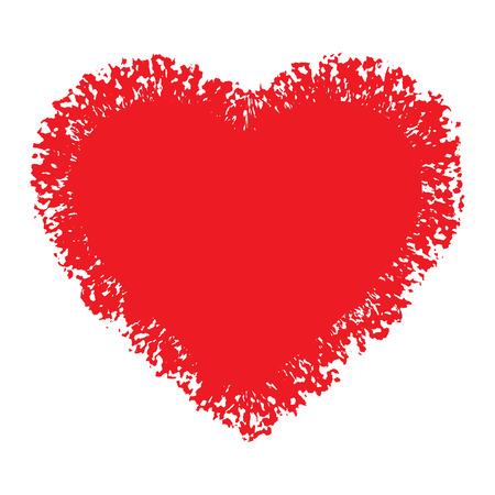 red hand: Red Hand Drawn Grunge Heart