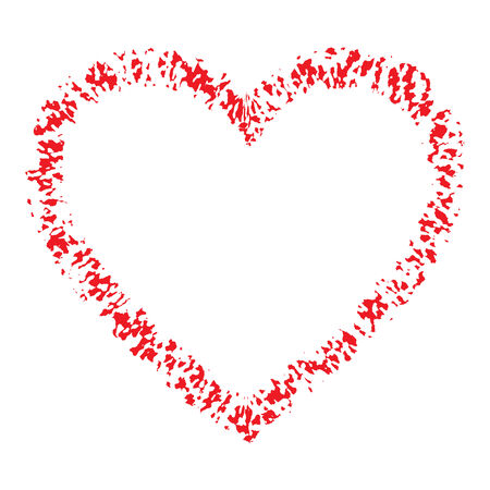 hand logo: Red Hand Drawn Thick Contour Grunge Heart logo