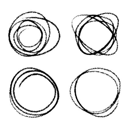arcs: Set of Hand Drawn Scribble Circles Illustration