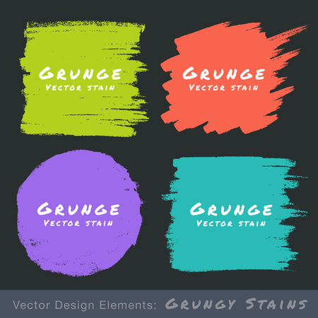 Set of Hand Drawn Flat Grunge Stains on Dark Background. Vector Illustration