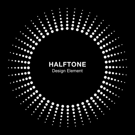printing logo: White Abstract Halftone Design Element, vector logo illustration Illustration