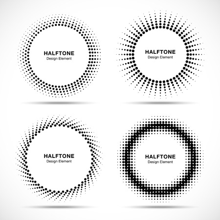 Circle: Set of Black Abstract Halftone Circles Logo, vector illustration