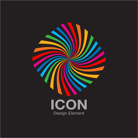 Colorful Bright Rainbow Spiral Icon on Black Background. Vector Illustration Vector