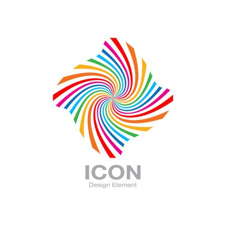 Colorful Bright Rainbow Spiral Icon. Raster Illustration Vector