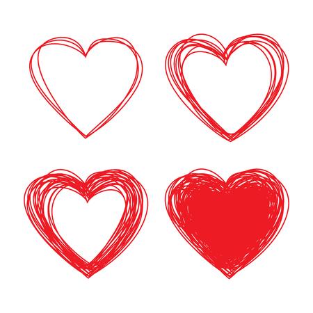 arcs: Set of Hand Drawn Scribble Hearts Illustration