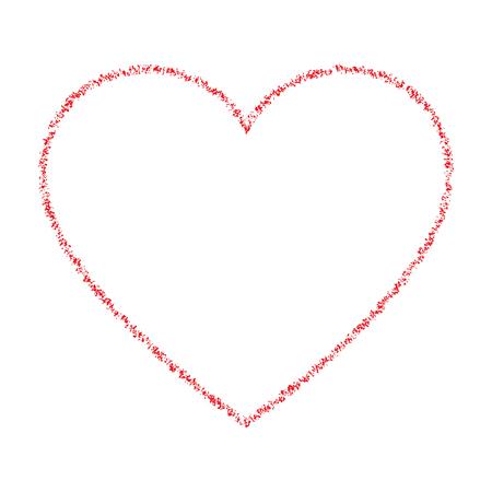 red hand: Red Hand Drawn Thin Contour Grunge Heart