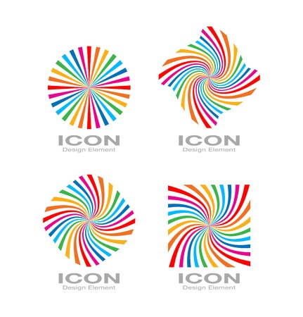 Set of Colorful Bright Rainbow Spiral Logo. Vector