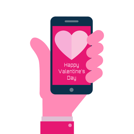 Happy Valentines Day - Smartphone on hand flat icon Vector