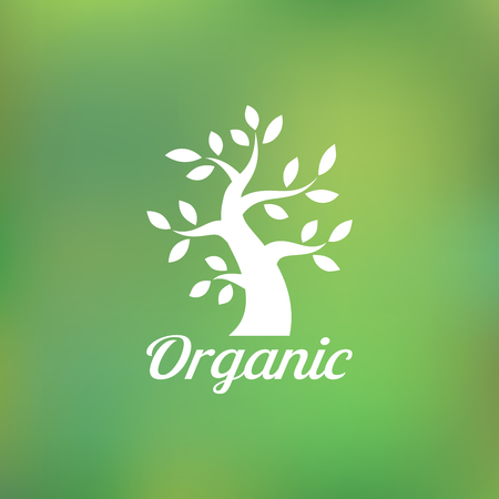 Organic green tree logo, eco emblem, ecology natural symbol Vector