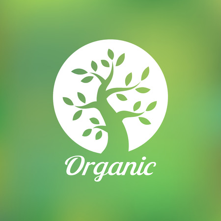 curle: Organic green tree logo, eco emblem, ecology natural symbol