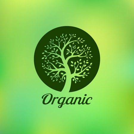 planta con raiz: Org�nica logo �rbol verde, eco emblema, s�mbolo de la ecolog�a natural,