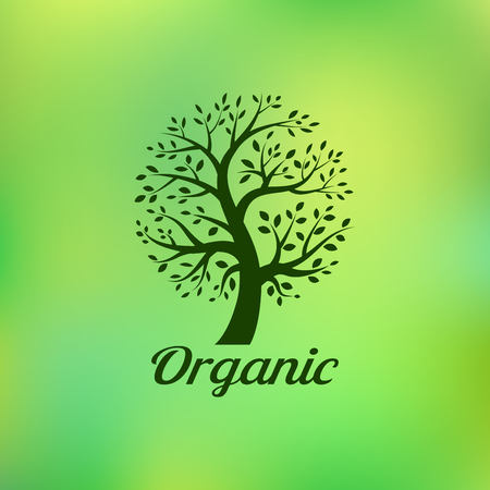 tree logo: Organic green tree logo, eco emblem, ecology natural symbol