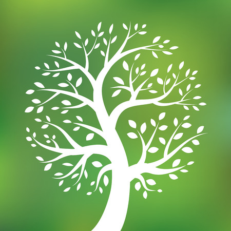 healthy family: Organic green tree logo, eco emblem, ecology natural symbol