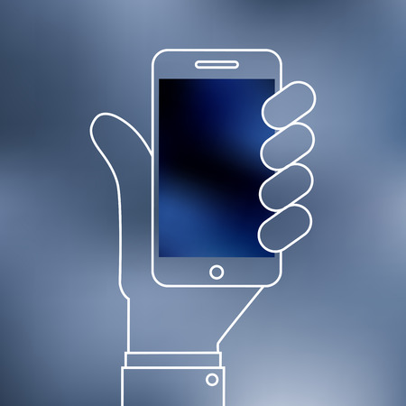 Linear illustration of Smartphone on hand icon Vector