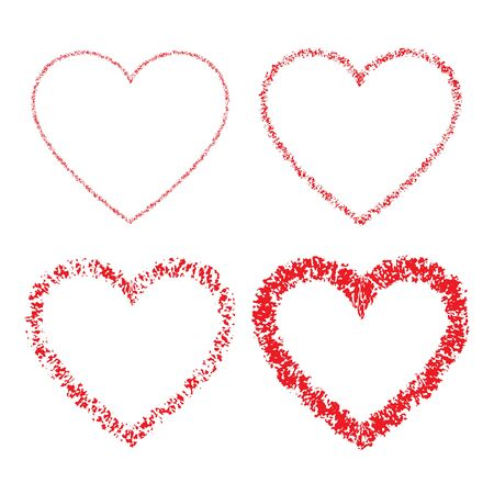 red hand: Set of Red Hand Drawn Linear Grunge Hearts Illustration