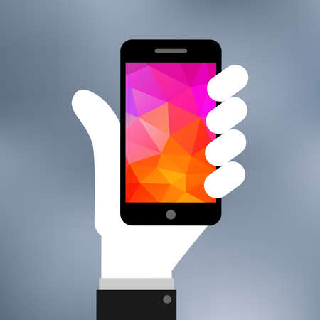 Flat illustration of Smartphone on hand icon Vector