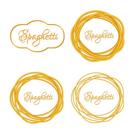 macarrones: Conjunto de realista Twisted Spaghetti Pasta C�rculo icono Marco emblema