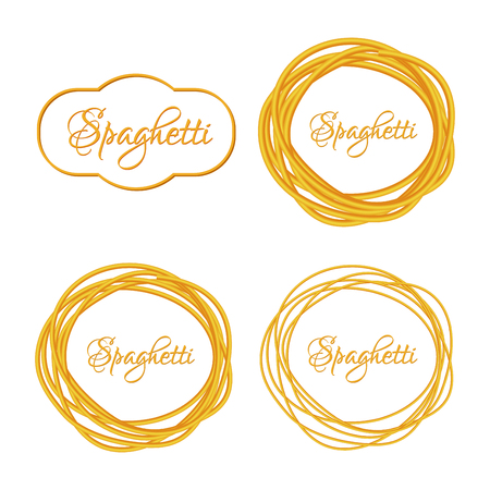 spaghetti: Set of Realistic Twisted Spaghetti Pasta Circle Frame icon emblem