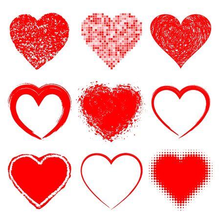 Conjunto de dibujado a mano de los corazones del Grunge