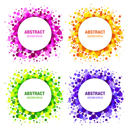 Set of Bright Abstract Circles Frames Design Elements, cosmetics, soap, shampoo, perfume, medical, label background