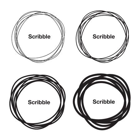 marcos redondos: Conjunto de dibujado mano Círculos del garabato
