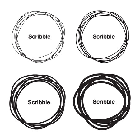 Set of Hand Drawn Scribble Circles Çizim