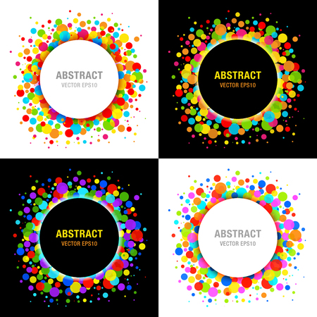 vivid colors: Set of Bright Celebration Holiday Frames on Black Background Illustration