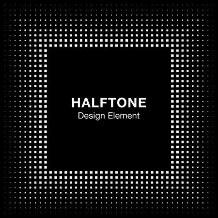 halftone background: Black Abstract Halftone Square Frame Background Illustration