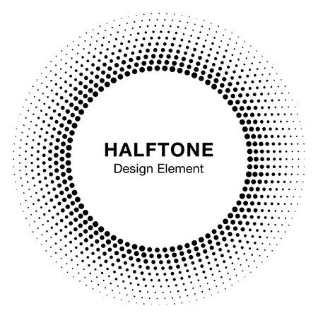 Black Abstract Halftone Circle icon Design Element Illustration