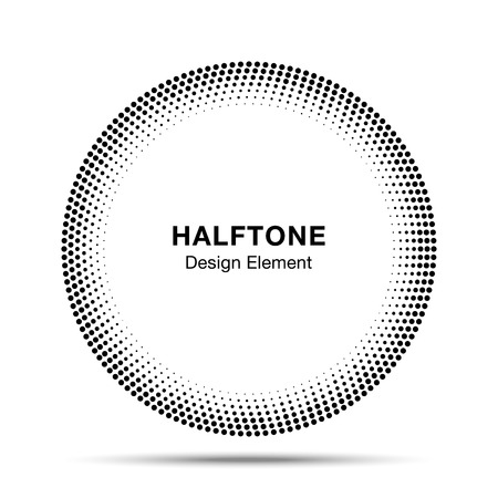 Black Abstract Halftone Circle icon Design Element 向量圖像