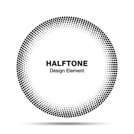 Black Abstract Halftone Circle icon Design Element Vettoriali