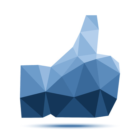 Dark blue geometric triangular polygonal thumb up icon Vector