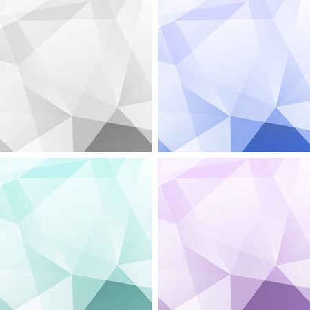 Set of Light Colorful Abstract Geometric Backgrounds Vector