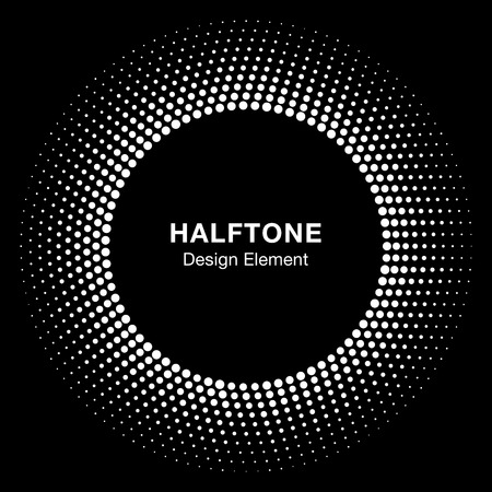 White Abstract Halftone Circle Logo Design Element