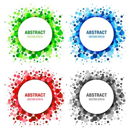 Set of  Bright Abstract Circles Frames Design Elements Illustration