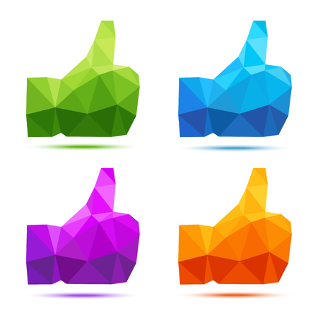 Set of bright colorful geometric polygonal thumb up icons Vector