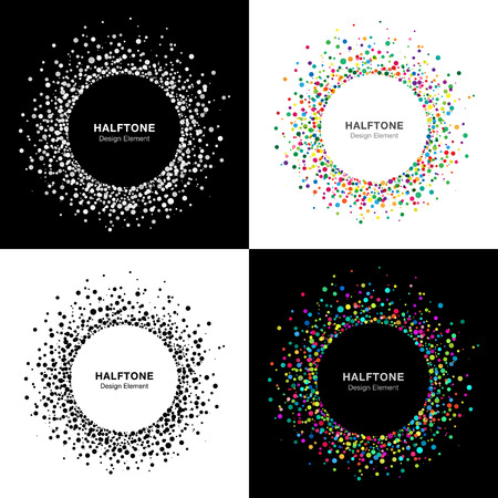 Set of  Abstract Halftone Circle Frames Illustration