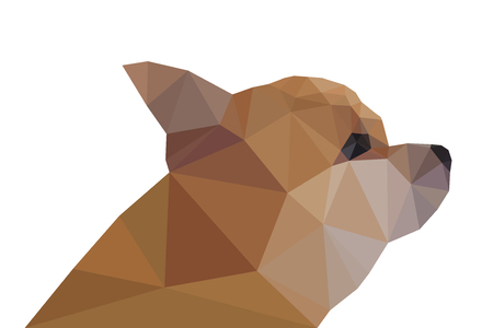 side view: Side View of Chihuahua, geometric triangular Illustration