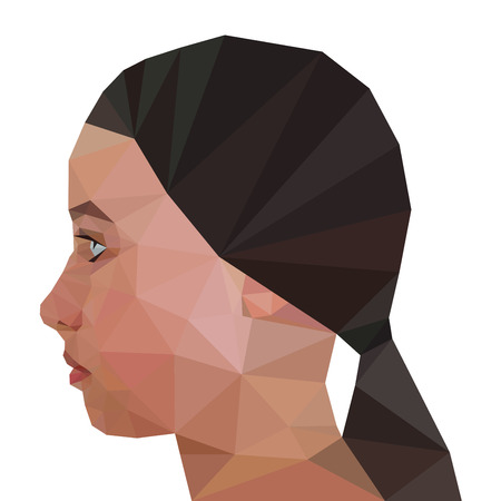 looking straight: Profile of Modern Girl, geometric triangular stile