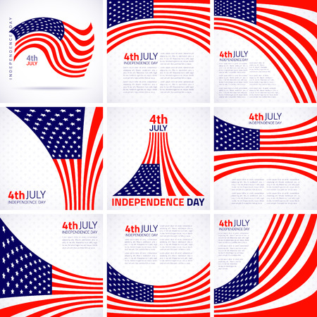Set of Stylish American Independence day design, american flag Vector