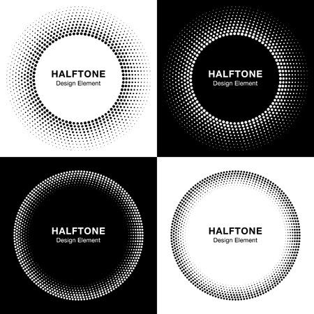 marcos redondos: Conjunto de c�rculos abstracta de medios tonos, Logo Design Elements