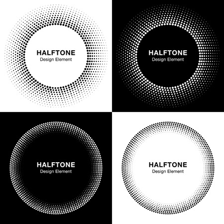 simple frame: Set of  Abstract Halftone Circles, Logo Design Elements