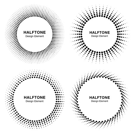 Set of Black Abstract Halftone Circle Frame Logo, vector illustration
