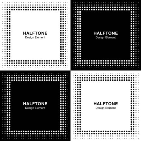 square frame: Set of Abstract Halftone Square Frame Backgrounds