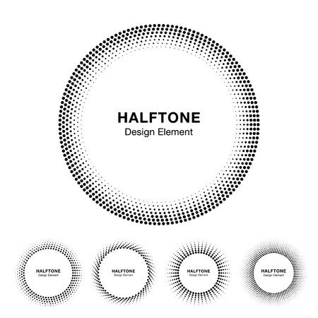 Set of Black Abstract Halftone Circle Frame