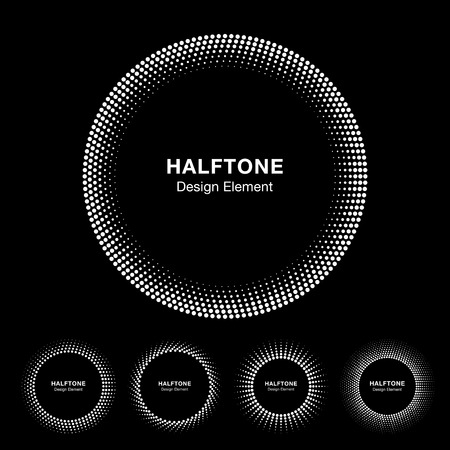 estampilla: Set of White Abstract Halftone Circle Frame Logo, vector illustration