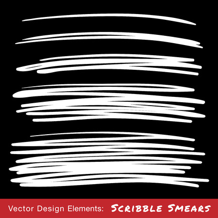 brushes: Set of White Hand Drawn Scribble Smears, vector design elements Illustration