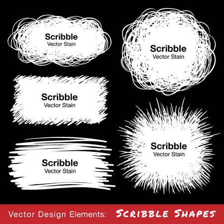 Set of White Hand Drawn Scribble Shapes, vector design elements Vettoriali